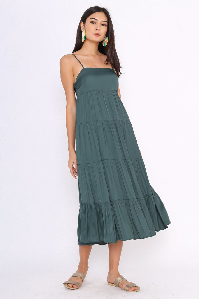 TEIA TIERED MIDI DRESS (DARK TEAL) (SIZE XS & XL)
