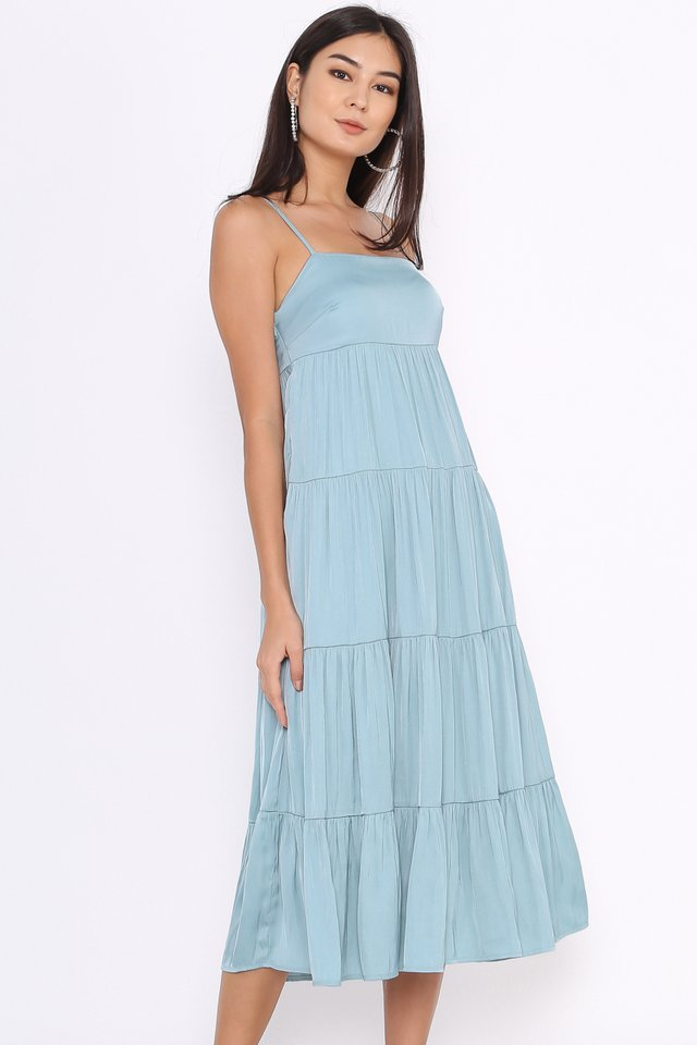 TEIA TIERED MIDI DRESS (SEAFOAM BLUE)