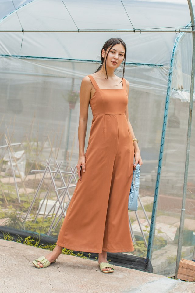 MELODY WIDE LEG JUMPSUIT (TAN BROWN)