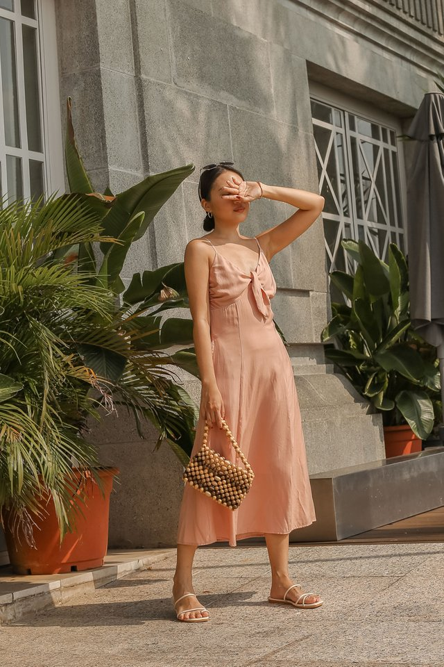 TYRA TIE FRONT DRESS (SALMON PINK)