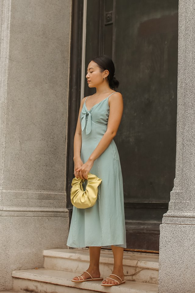 TYRA TIE FRONT DRESS (SEAFOAM BLUE)