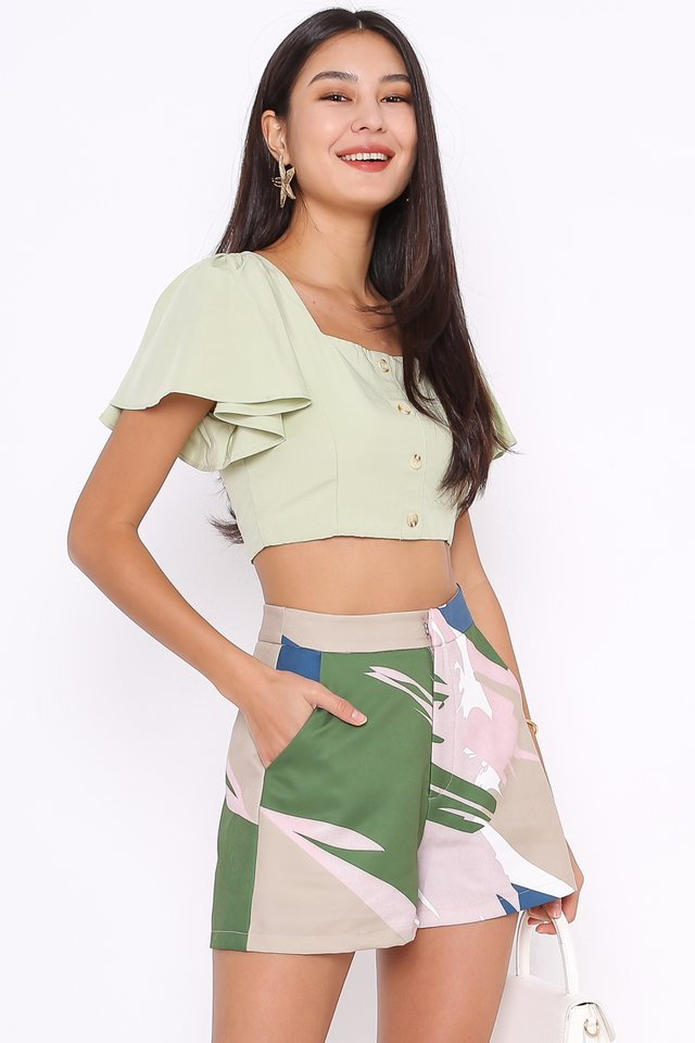 FREYA FLUTTER SLEEVE TOP (APPLE GREEN)
