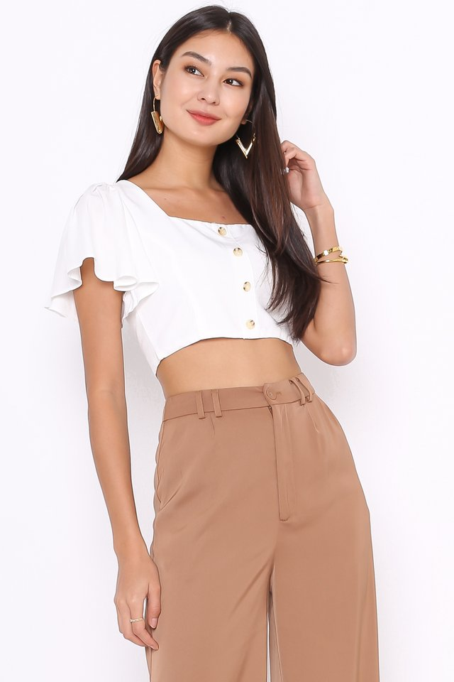 FREYA FLUTTER SLEEVE TOP (WHITE)
