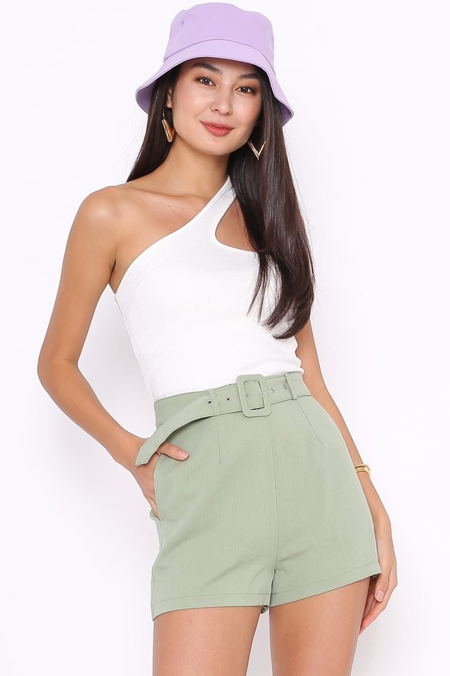 LOUISE LINEN BELTED SHORTS (SEASALT GREEN)