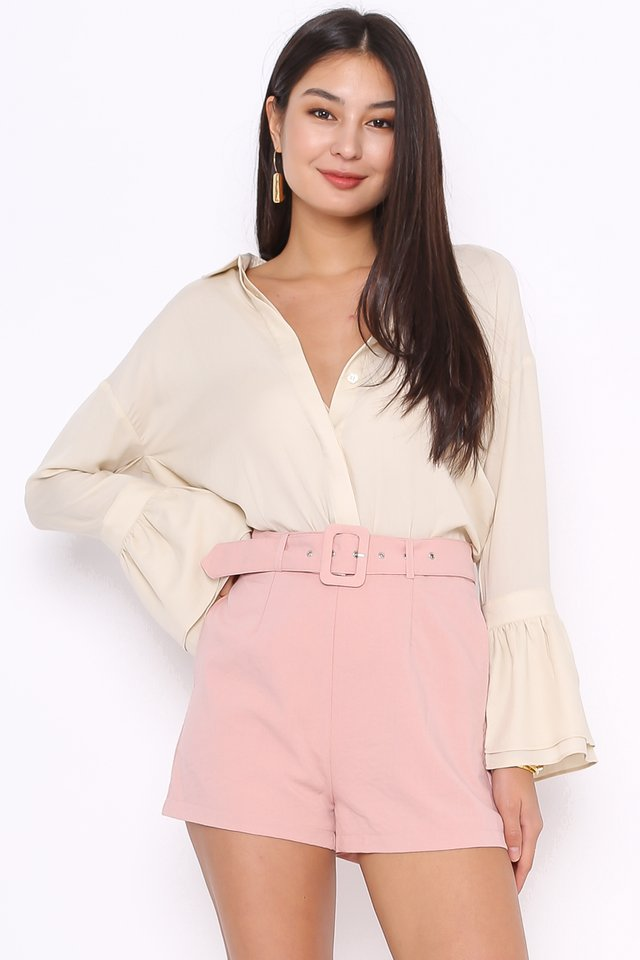 LOUISE LINEN BELTED SHORTS (ROSE PINK)