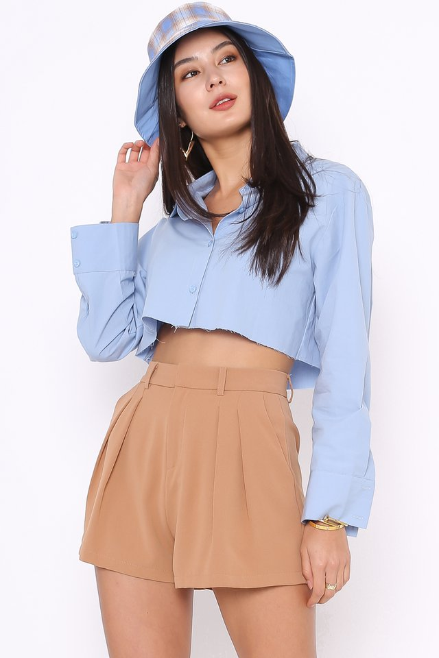 ROXANNE RAW HEM SHIRT (DUSK BLUE)