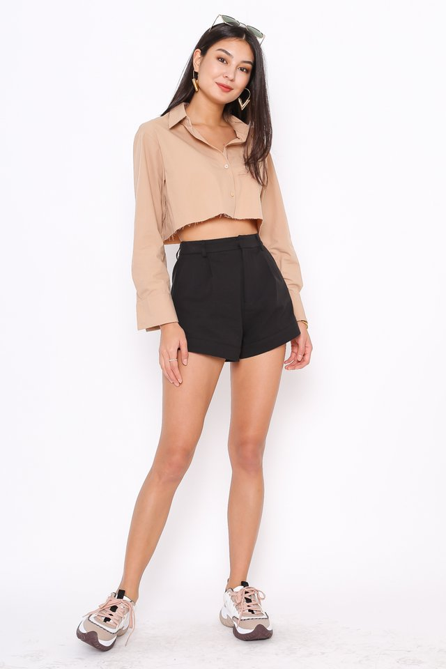 ROXANNE RAW HEM SHIRT (MILK TEA)