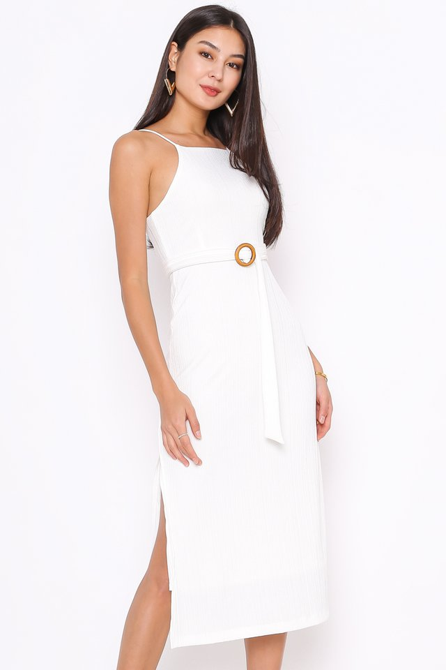 KELSEY KNITTED DRESS (WHITE)(L)