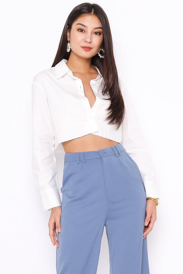 ROXANNE RAW HEM SHIRT (WHITE)