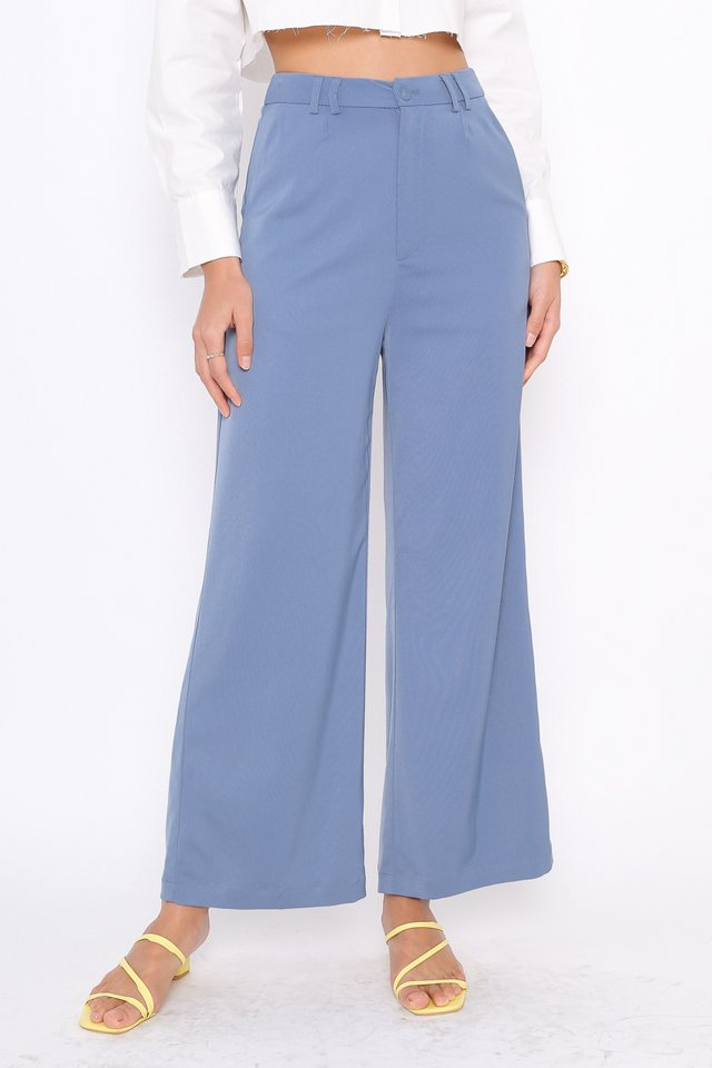 SOFIE SILKY STRAIGHT LEG PANTS (AIRFORCE BLUE)