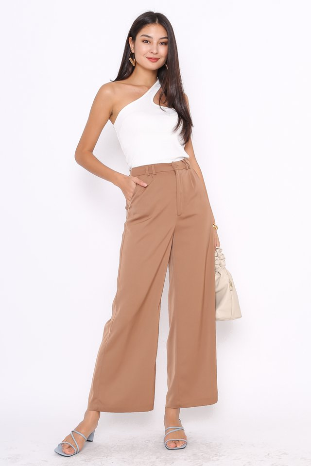 SOFIE SILKY STRAIGHT LEG PANTS (COFFEE BROWN)