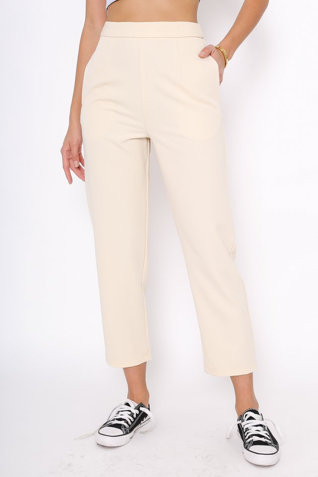PHYLLIS PEG LEG PANTS (VANILLA CREAM)