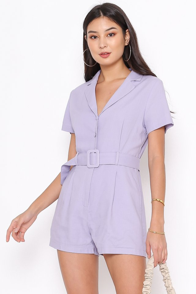 LARRY LINEN COLLARED ROMPER (LILAC)