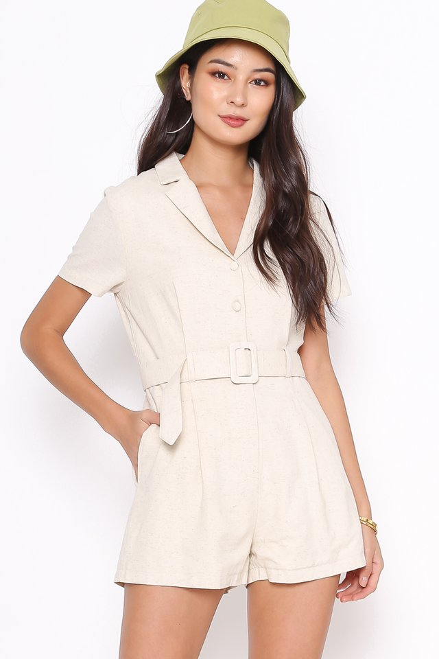 LARRY LINEN COLLARED ROMPER (ORGANIC WHEAT)