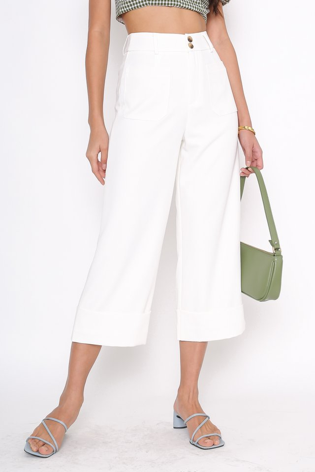 *BACKORDER* DELIA DOUBLE BUTTON PANTS (WHITE)