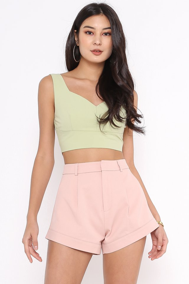VERONICA V-NECK TOP (APPLE GREEN)