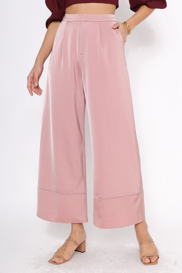 SOPHIA SATIN PANTS (ROSE PINK)
