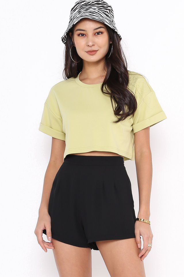 CASSIE CROPPED TOP (AVOCADO GREEN)