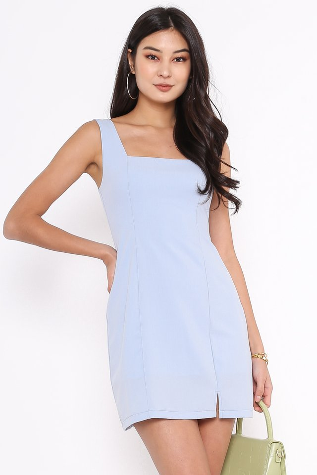 SCARLET SQUARE NECK DRESS (SKY BLUE)