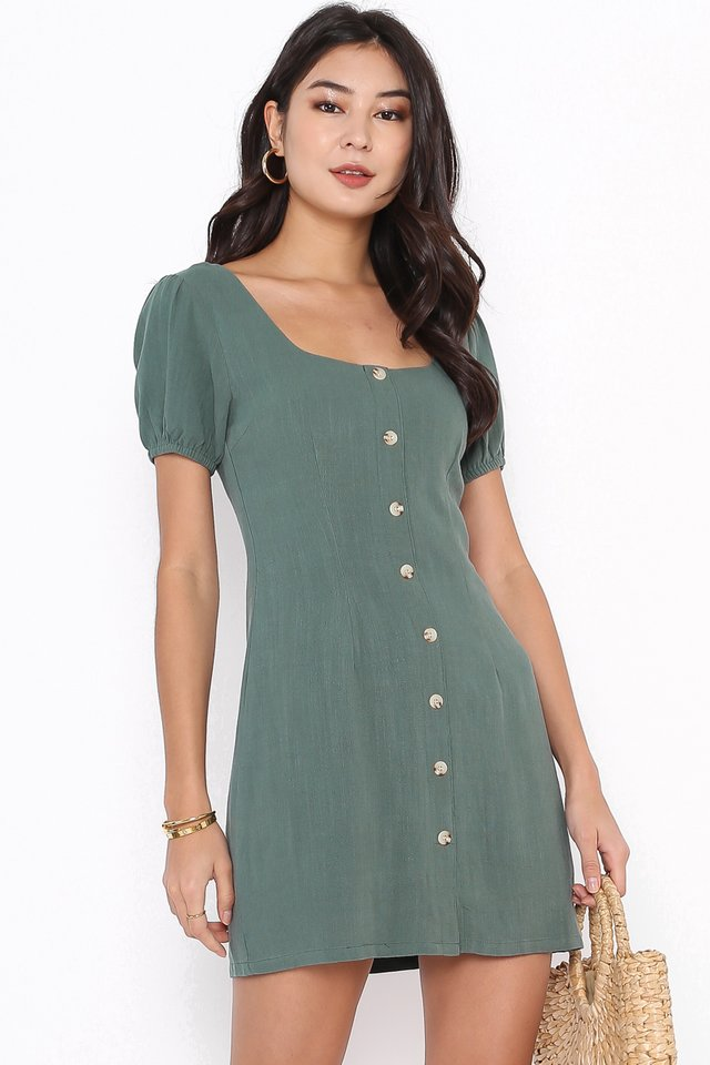 LARA LINEN DRESS (CHRISTMAS GREEN)