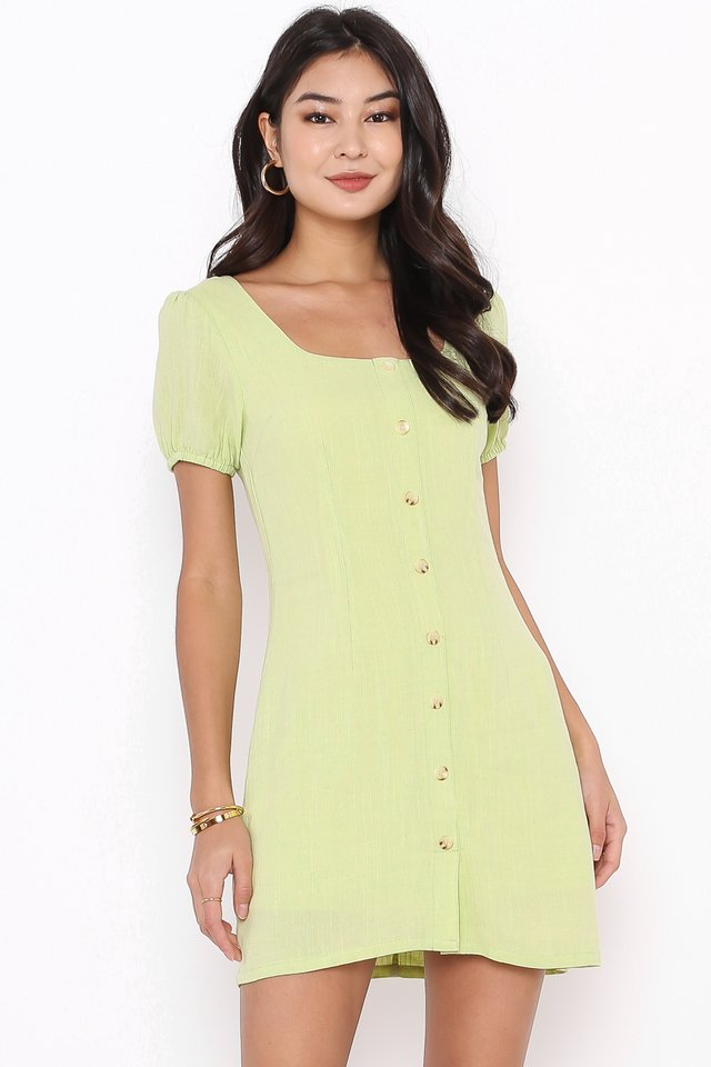 LARA LINEN DRESS (LIME SORBET)