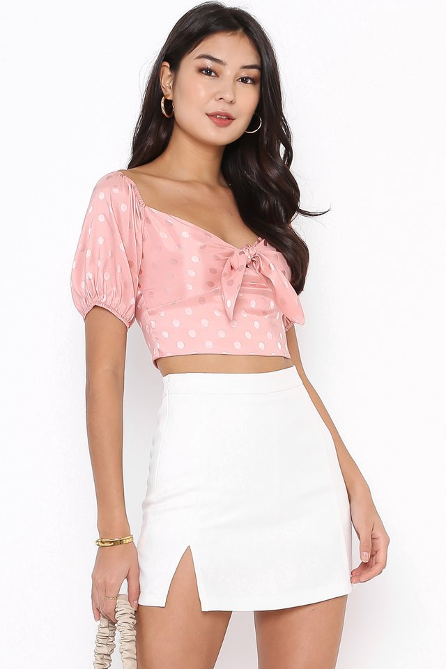 SHANICE SATIN POLKA DOT TOP (PINK)