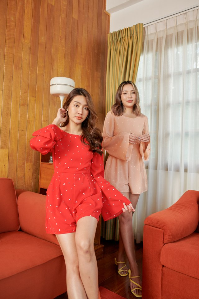 SAFFY SPECKLED ROMPER (RED)
