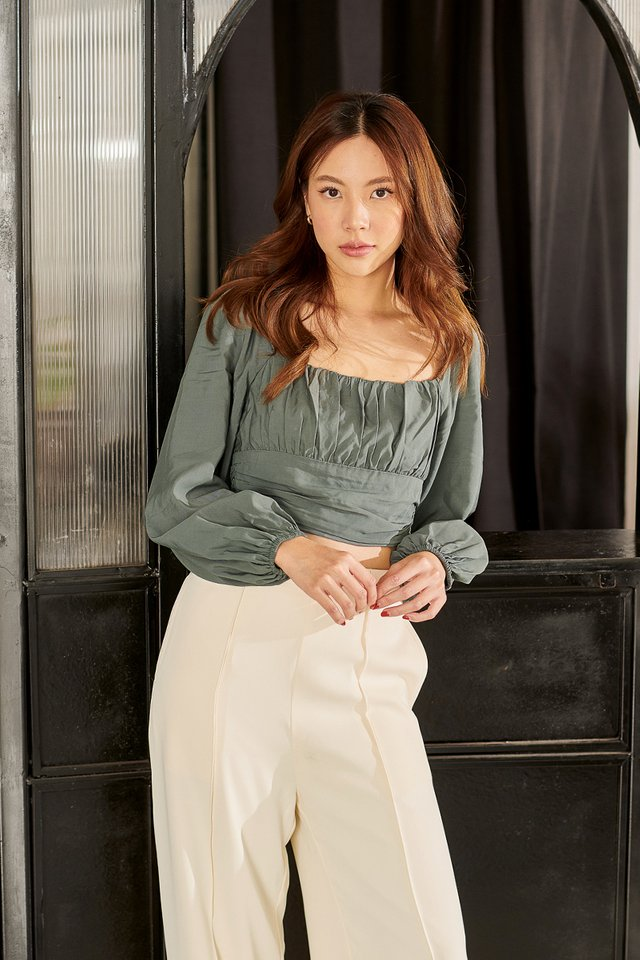 RENICE RUCHED TOP (DARK TEAL)