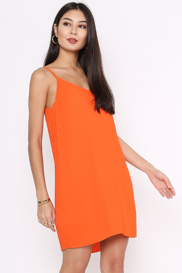 PENNY PLEATED DRESS (ORANGE)