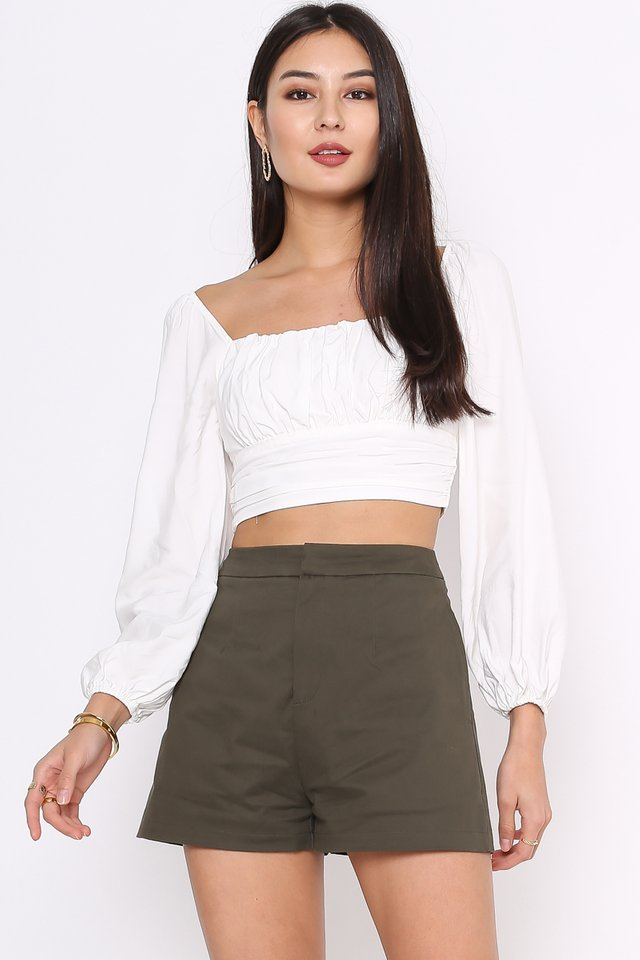 RENICE RUCHED TOP (WHITE)