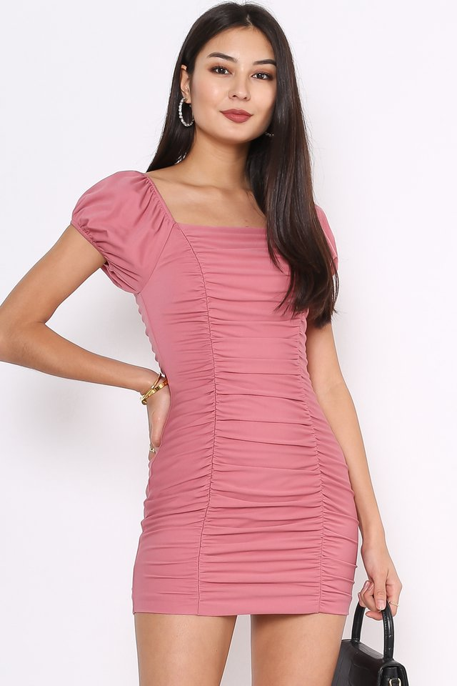 RACQUEL RUCHED DRESS (ROSE PINK)