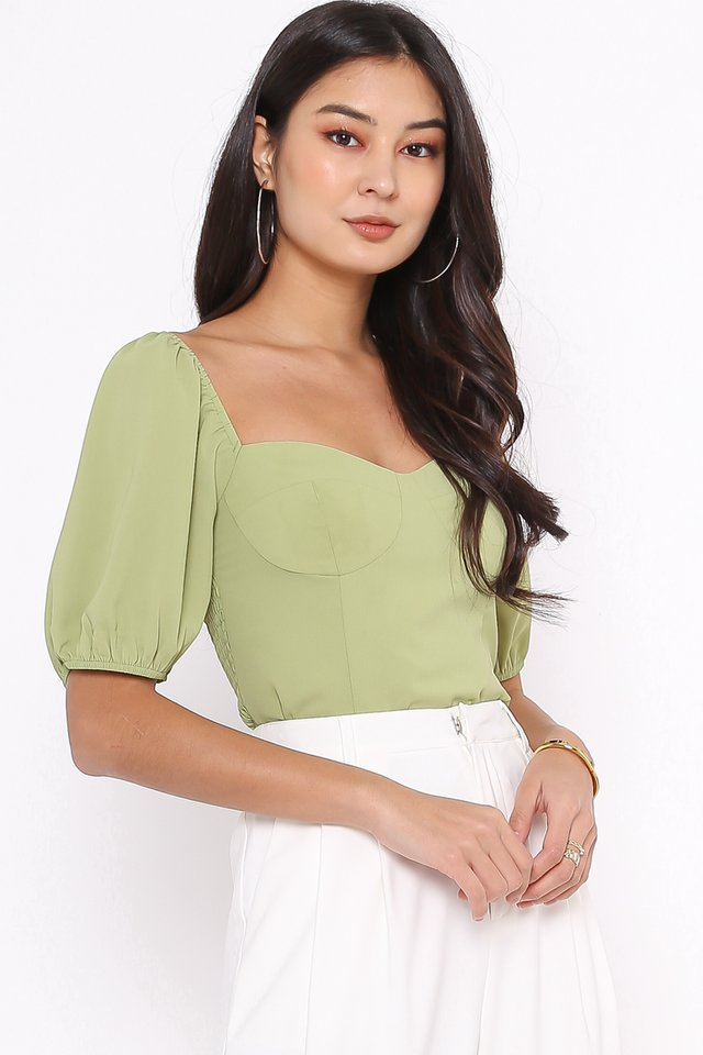 AMELIA SWEETHEART NECKLINE TOP (PISTACHIO GREEN)