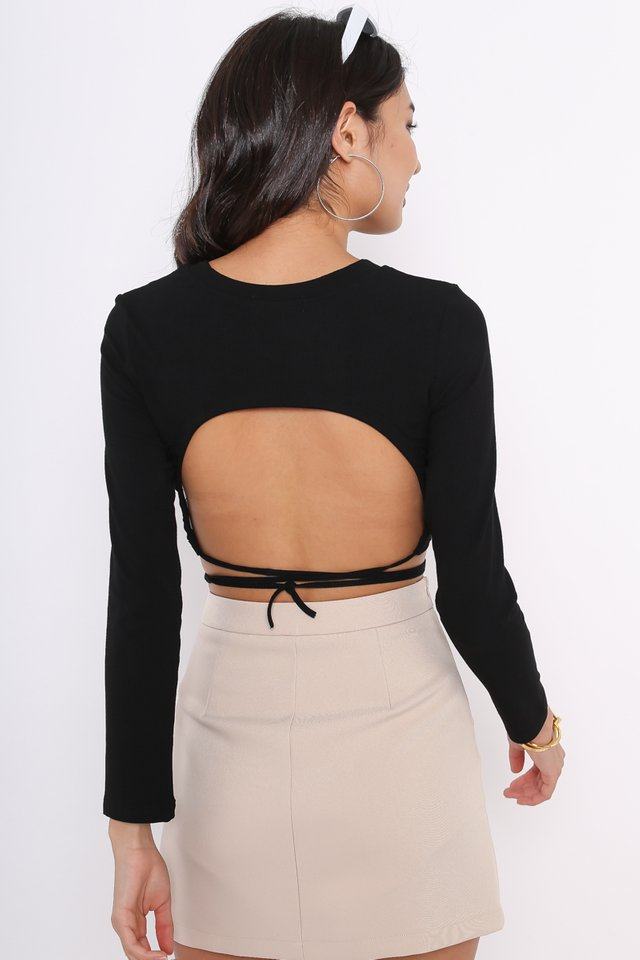 *BACKORDER* OLLIE OPEN BACK TOP (BLACK)