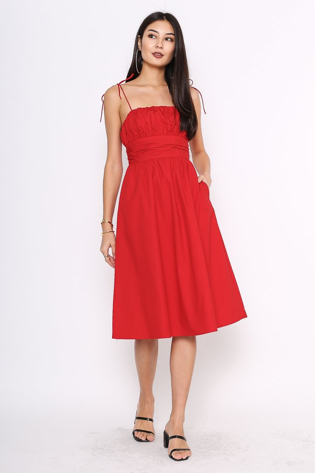 TAYLOR TIE STRING DRESS (CRANBERRY RED)