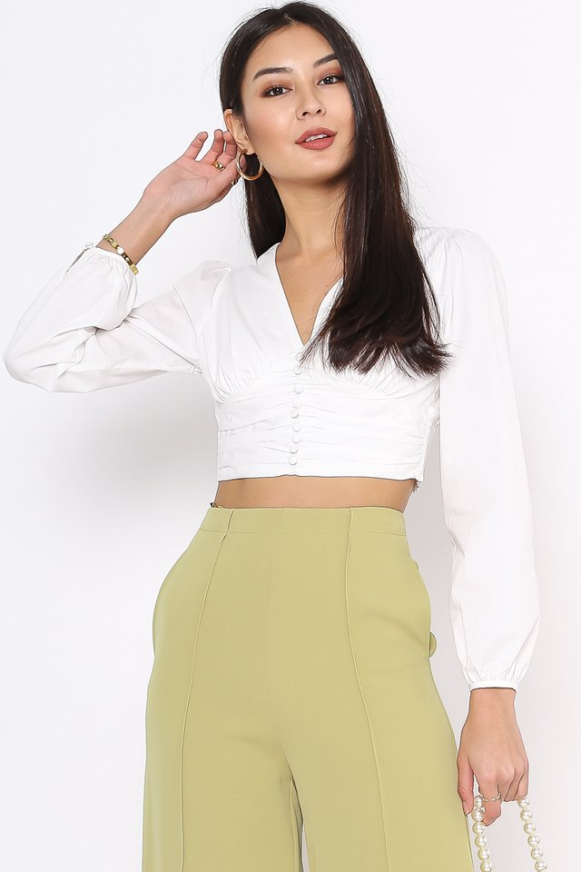 BETTY BUTTON FRONT TOP (WHITE)