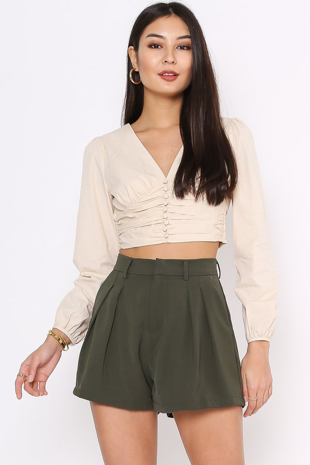 BETTY BUTTON FRONT TOP (MILK TEA)