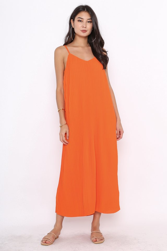 PETRINA PLEATED DRESS (ORANGE)