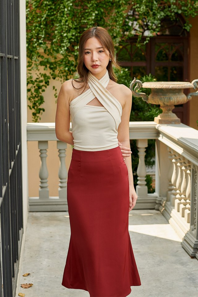 SHEA FIT & FLARE SATIN SKIRT (WINE RED)