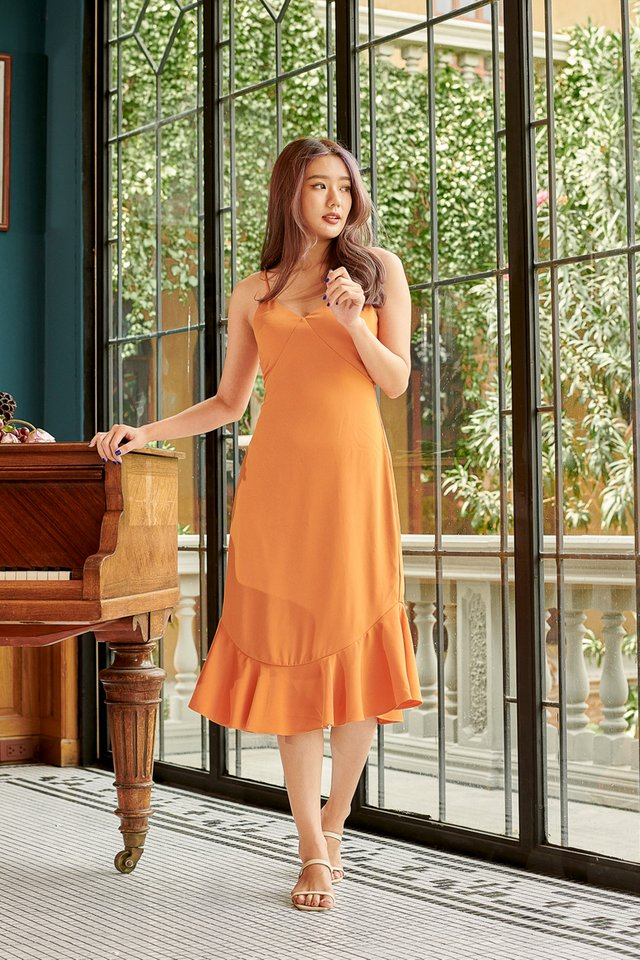 MEREDITH MERMAID HEM DRESS (TANGERINE)