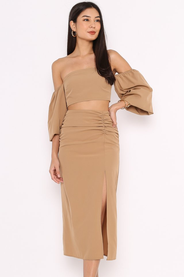 PAULINE SLIT SKIRT (NUDE BROWN)