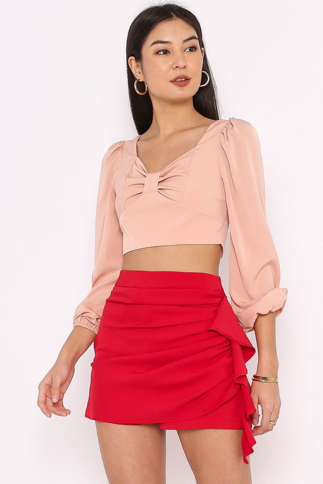 BRIELLE BOW FRONT TOP (SALMON PEACH)