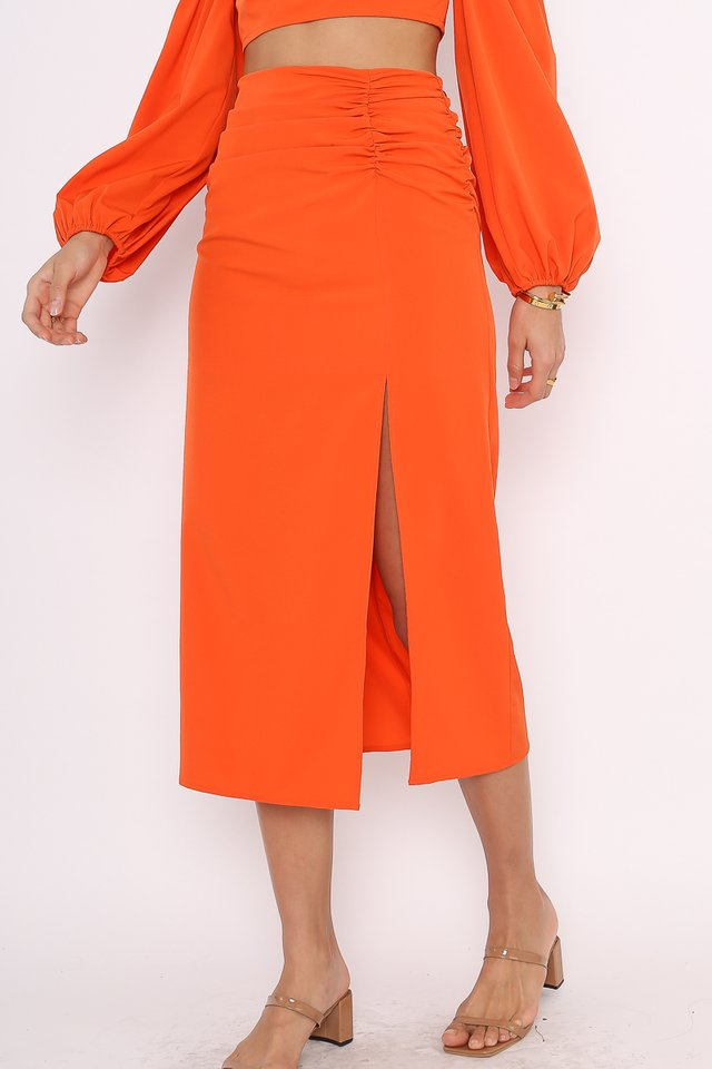 PAULINE SLIT SKIRT (SUNSET ORANGE)