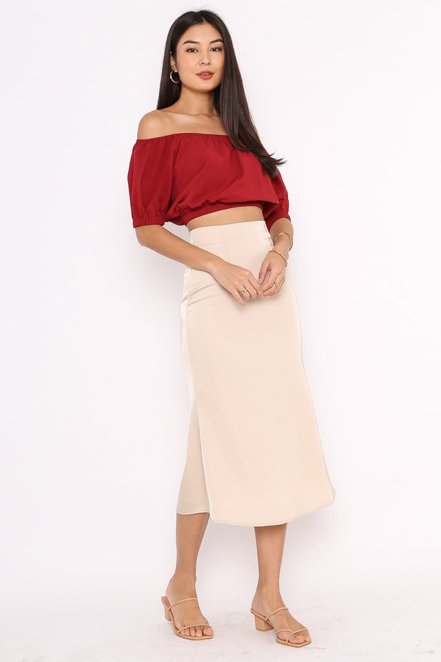 OZZIE OFF SHOULDER TOP (GARNET RED)