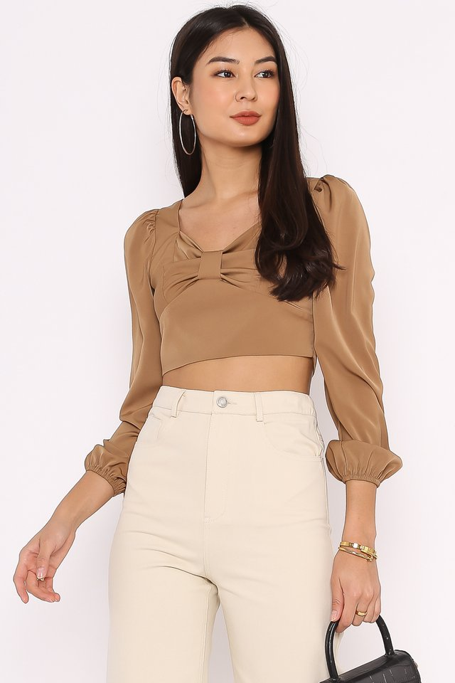 BRIELLE BOW FRONT TOP (MOCHA)