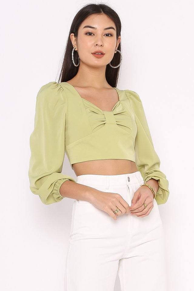 BRIELLE BOW FRONT TOP (AVOCADO GREEN)