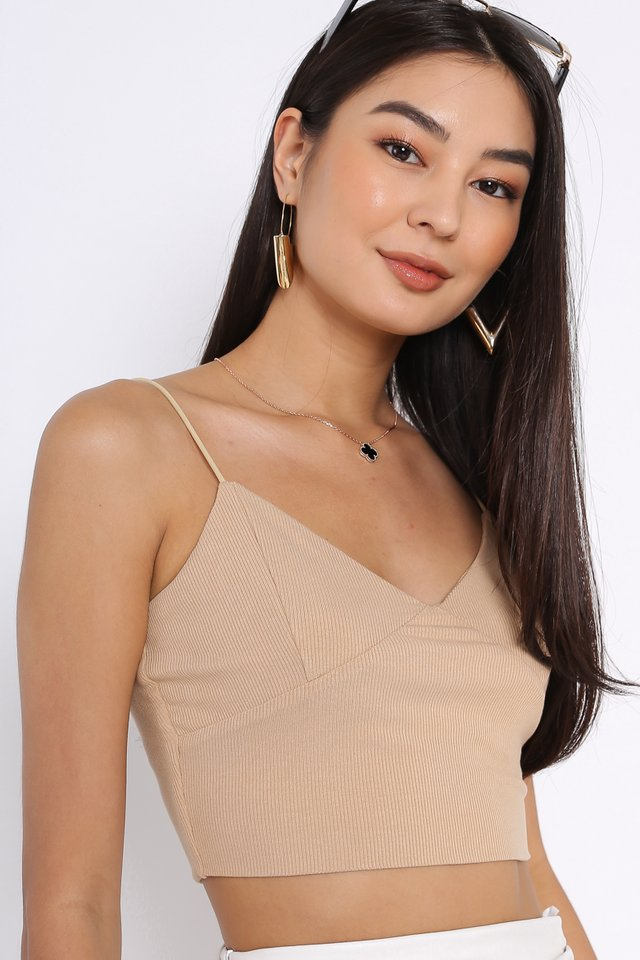 KRISTIN KNITTED TOP  (SANDSTONE NUDE)