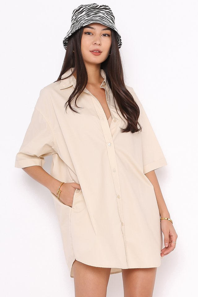 *BACKORDER* OSCAR OVERSIZED SHIRTDRESS (MILK TEA)