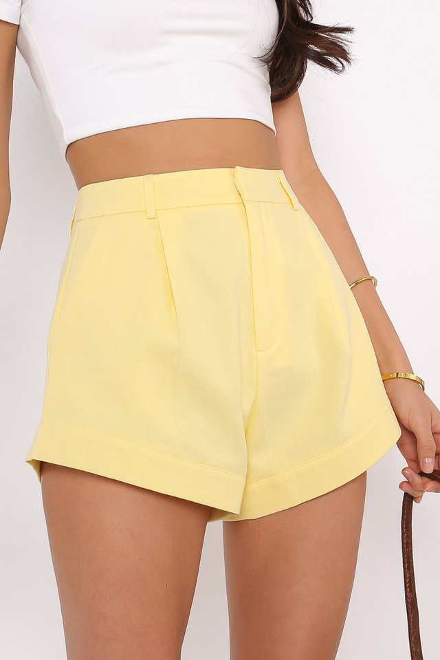 *BACKORDER* CHARLIE CURVED HEM SHORTS (SUNSHINE YELLOW)
