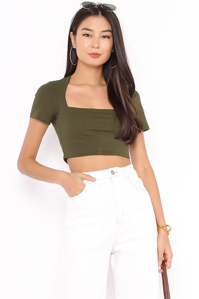*BACKORDER* CLAUDIE CUT-IN TOP (OLIVE)