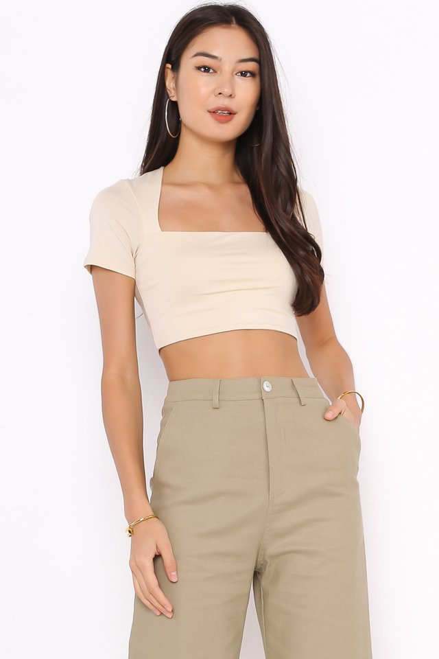 *BACKORDER* CLAUDIE CUT-IN TOP (MILK TEA)